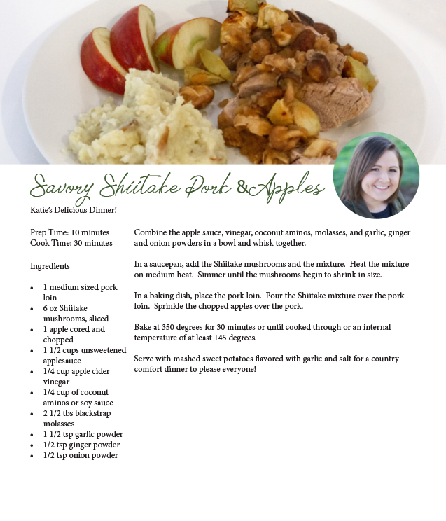 savory shiitake pork and apples top hat mushrooms recipe